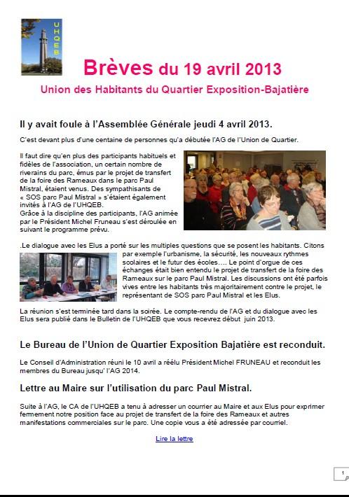 UQ Expo Bajat- breves 19avril2013