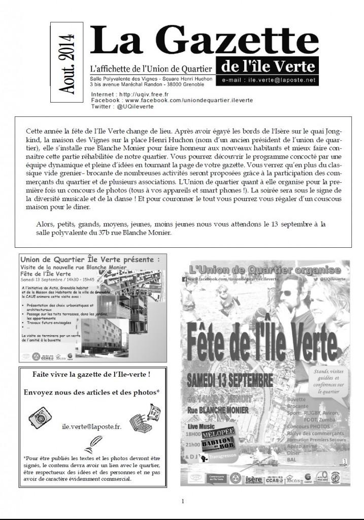 page1 - Gazette Ile Verte - aout 2014