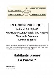 UQ Abbaye - réunion publique 6 juin 2016